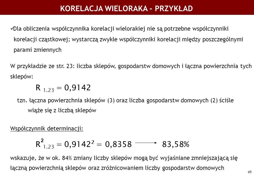 49 KORELACJA WIELORAKA - PRZYKŁAD Dla obliczenia współczynnika korelacji wielorakiej nie są potrzebne współczynniki korelacji cząstkowej; wystarczą zw
