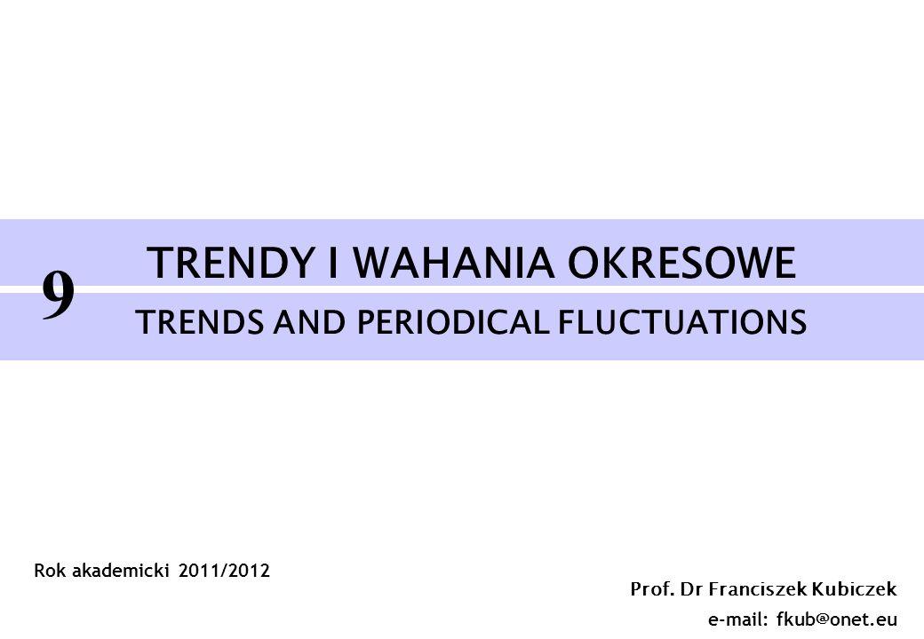 Prof. Dr Franciszek Kubiczek e-mail: fkub@onet.eu Rok akademicki 2011/2012 TRENDY I WAHANIA OKRESOWE TRENDS AND PERIODICAL FLUCTUATIONS 9