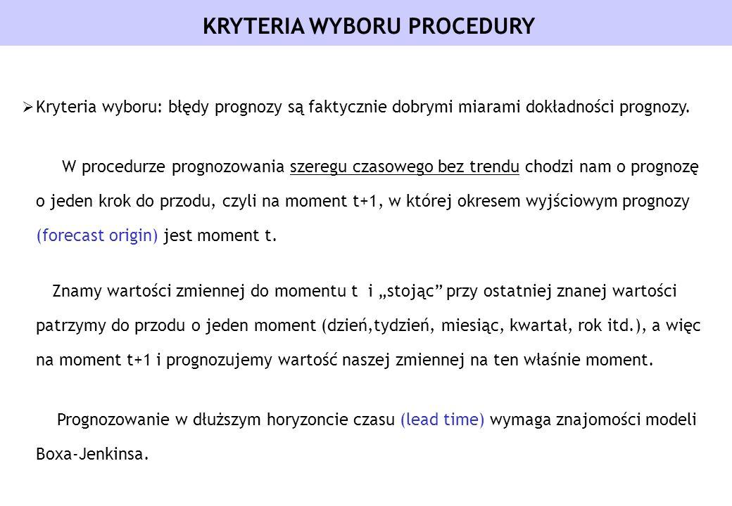 Kryteria wyboru: błędy prognozy są faktycznie dobrymi miarami dokładności prognozy. W procedurze prognozowania szeregu czasowego bez trendu chodzi nam