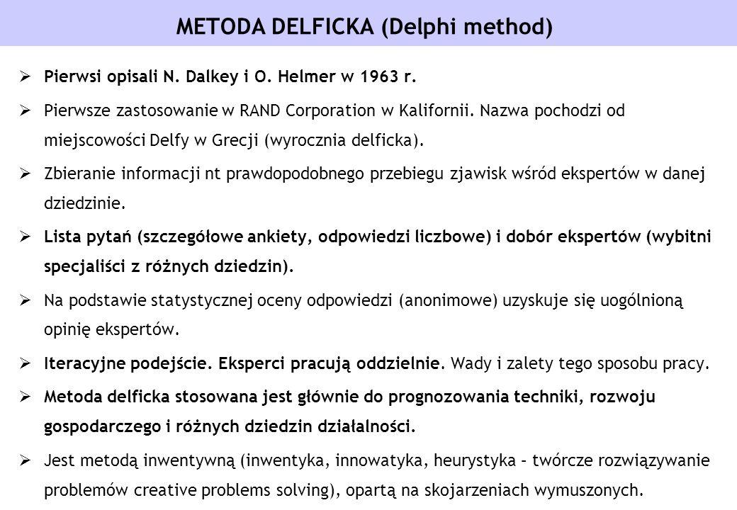 METODA DELFICKA (Delphi method) Pierwsi opisali N. Dalkey i O. Helmer w 1963 r. Pierwsze zastosowanie w RAND Corporation w Kalifornii. Nazwa pochodzi