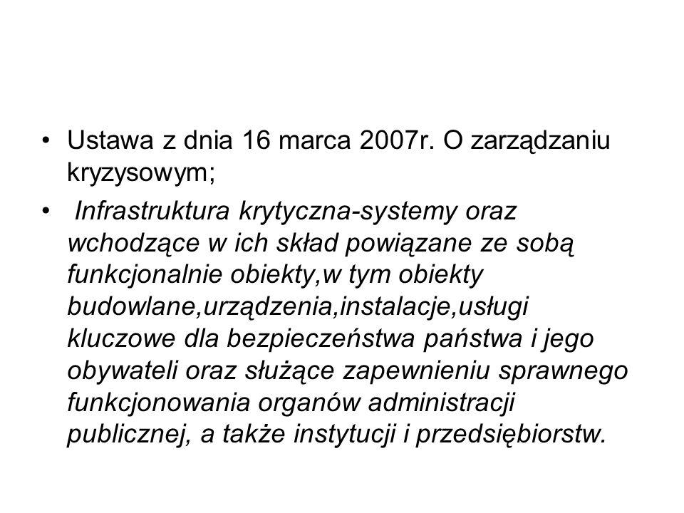Ustawa z dnia 16 marca 2007r. O zarządzaniu kryzysowym; Infrastruktura krytyczna-systemy oraz wchodzące w ich skład powiązane ze sobą funkcjonalnie ob