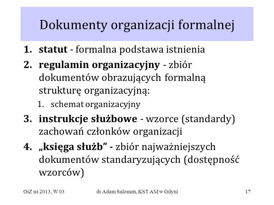 17 Dokumenty organizacji formalnej 1.statut - formalna podstawa istnienia 2.regulamin organizacyjny - zbiór dokumentów obrazujących formalną strukturę