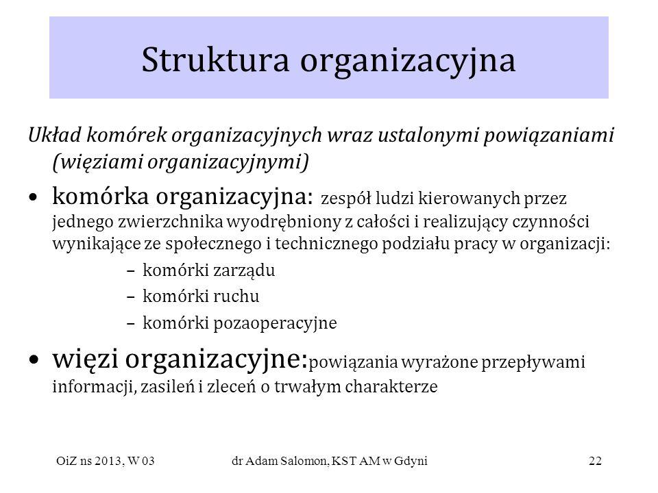 22 Struktura organizacyjna Układ komórek organizacyjnych wraz ustalonymi powiązaniami (więziami organizacyjnymi) komórka organizacyjna: zespół ludzi k