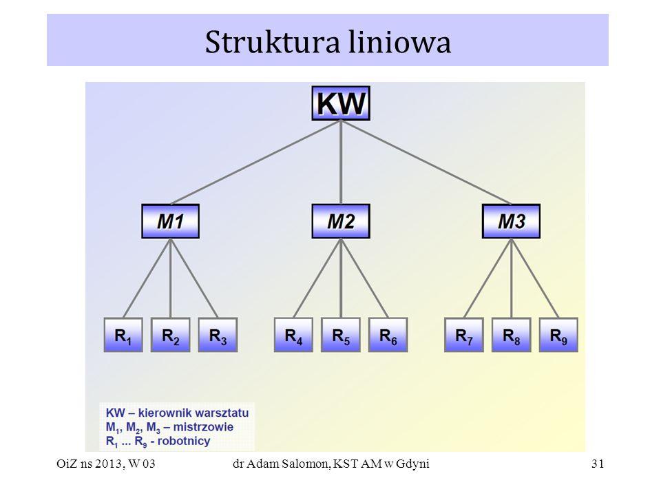 31 Struktura liniowa OiZ ns 2013, W 03dr Adam Salomon, KST AM w Gdyni