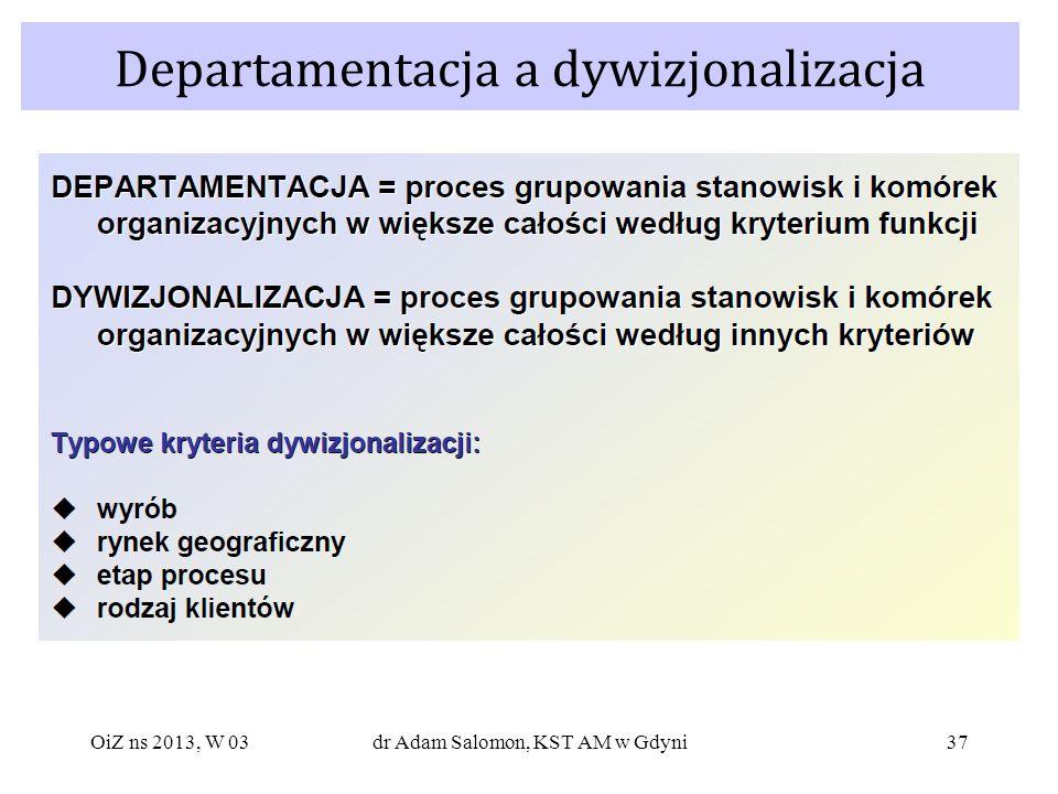 37 Departamentacja a dywizjonalizacja OiZ ns 2013, W 03dr Adam Salomon, KST AM w Gdyni