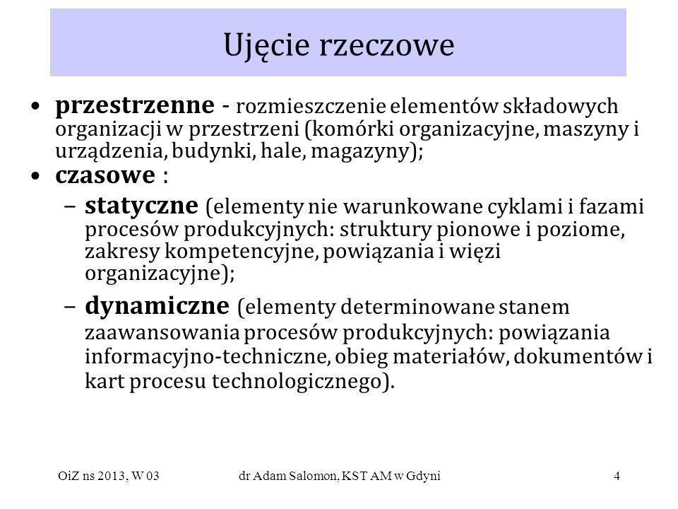 55 Skutki centralizacji zarządzania negatywne: inercyjność zachowań, brak poczucia odpowiedzialności wydłużenie procesu decyzyjnego, tłumienie inicjatywy wzbogacenie informacji decyzyjnych - biurokratyzm zubożenie i zniekształcenie informacji o stanie faktycznym - podejmowanie nieoptymalnych decyzji pozytywne: koncentracja władzy łatwość utrzymania dyscypliny wykonawczej istnienie jednolitych standardów OiZ ns 2013, W 03dr Adam Salomon, KST AM w Gdyni