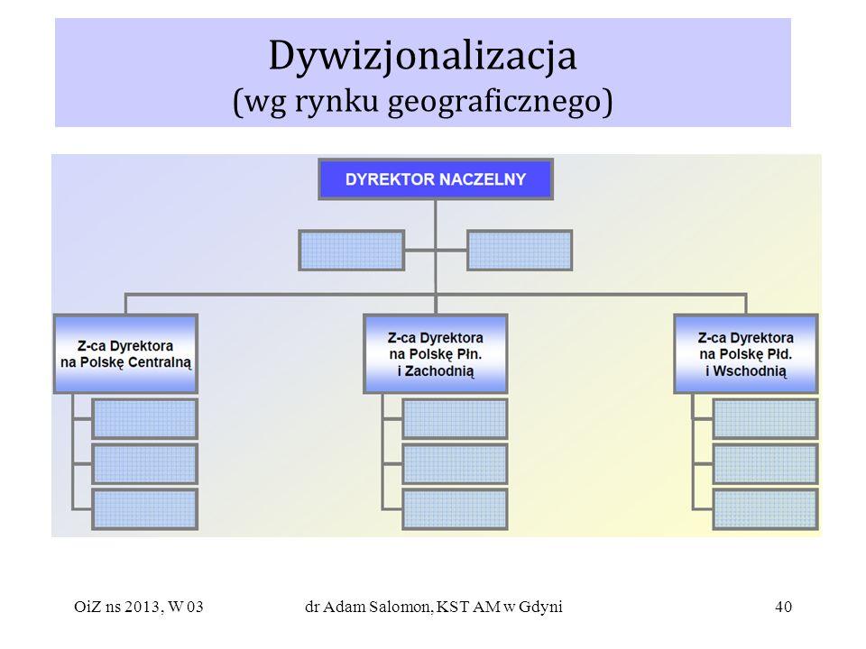 40 Dywizjonalizacja (wg rynku geograficznego) OiZ ns 2013, W 03dr Adam Salomon, KST AM w Gdyni