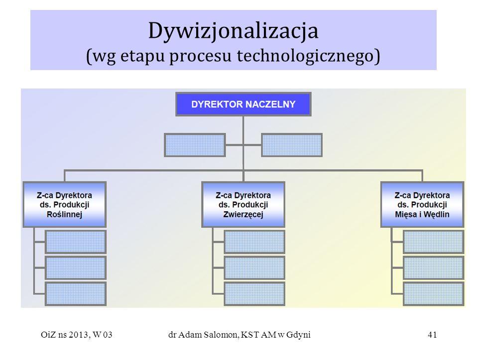 41 Dywizjonalizacja (wg etapu procesu technologicznego) OiZ ns 2013, W 03dr Adam Salomon, KST AM w Gdyni