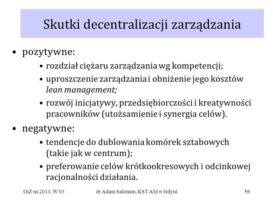 56 Skutki decentralizacji zarządzania pozytywne: rozdział ciężaru zarządzania wg kompetencji; uproszczenie zarządzania i obniżenie jego kosztów lean m