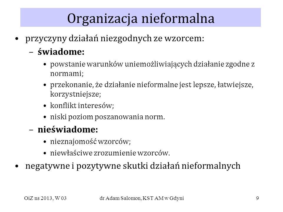 20 Modelowe struktury organizacyjne (ujęcie systemowe) NADRZĘDNY SYSTEM KIEROWANIA NADRZĘDNY SYSTEM DECYZYJNY NADRZĘDNY SYSTEM INFORMACYJNY SYSTEM KIEROWANIA SYSTEM DECYZYJNY SYSTEM INFORMACYJNY SYSTEM PODSTAWOWY SYSTEM WSPOMAGAJĄCY SYSTEM ROBOCZY OiZ ns 2013, W 03dr Adam Salomon, KST AM w Gdyni
