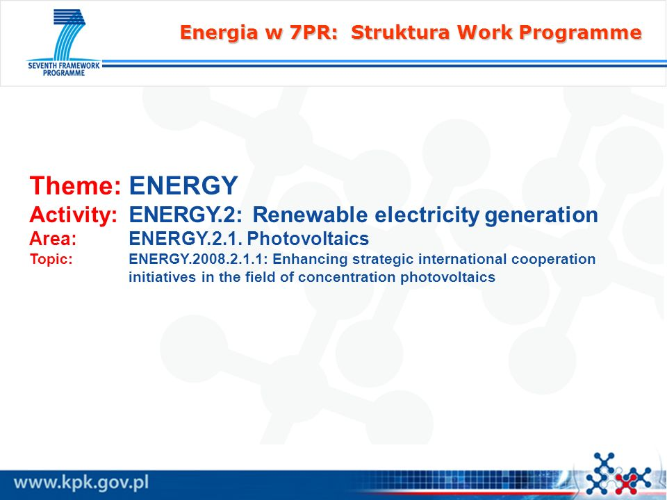 Energia w 7PR: Struktura Work Programme Theme: ENERGY Activity: ENERGY.2: Renewable electricity generation Area: ENERGY.2.1. Photovoltaics Topic: ENER