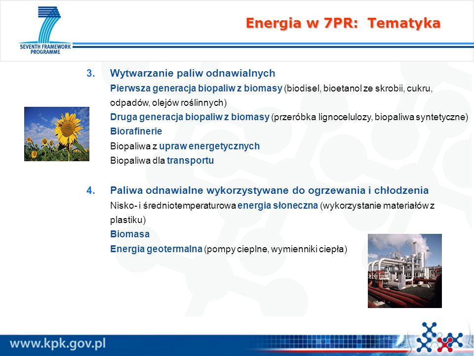 Energia w 7PR: Tematyka 3. 3.Wytwarzanie paliw odnawialnych Pierwsza generacja biopaliw z biomasy (biodisel, bioetanol ze skrobii, cukru, odpadów, ole