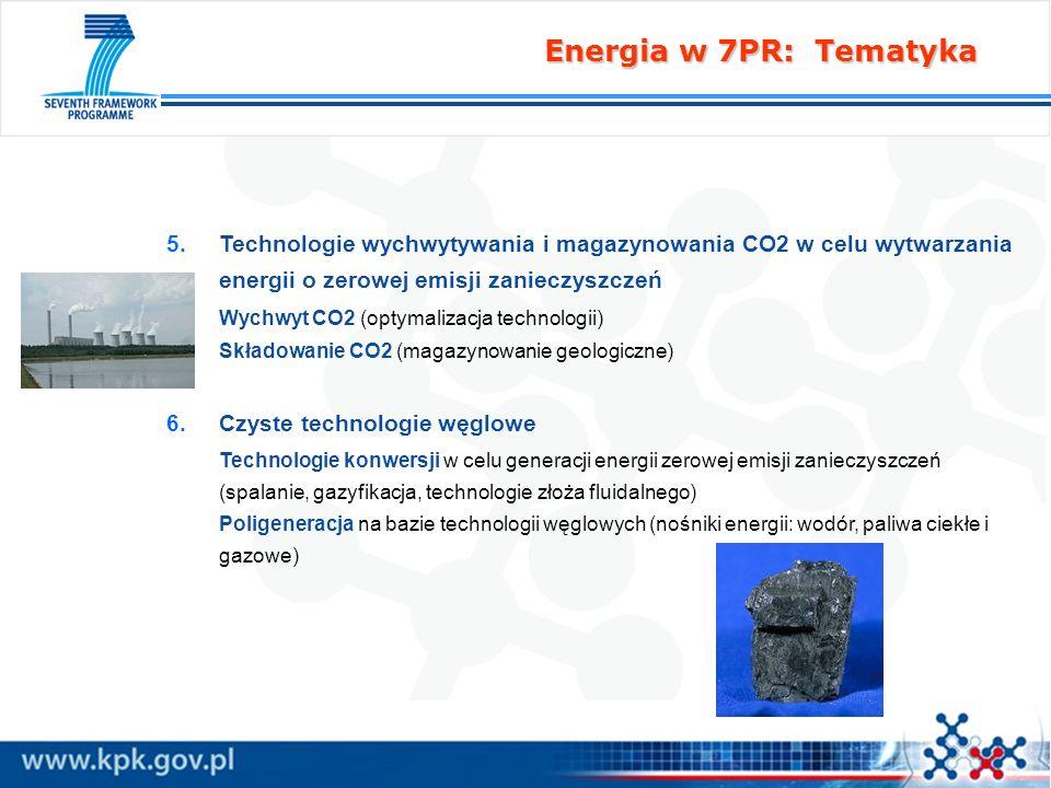 Energia w 7PR: Tematyka 5. 5.Technologie wychwytywania i magazynowania CO2 w celu wytwarzania energii o zerowej emisji zanieczyszczeń Wychwyt CO2 (opt