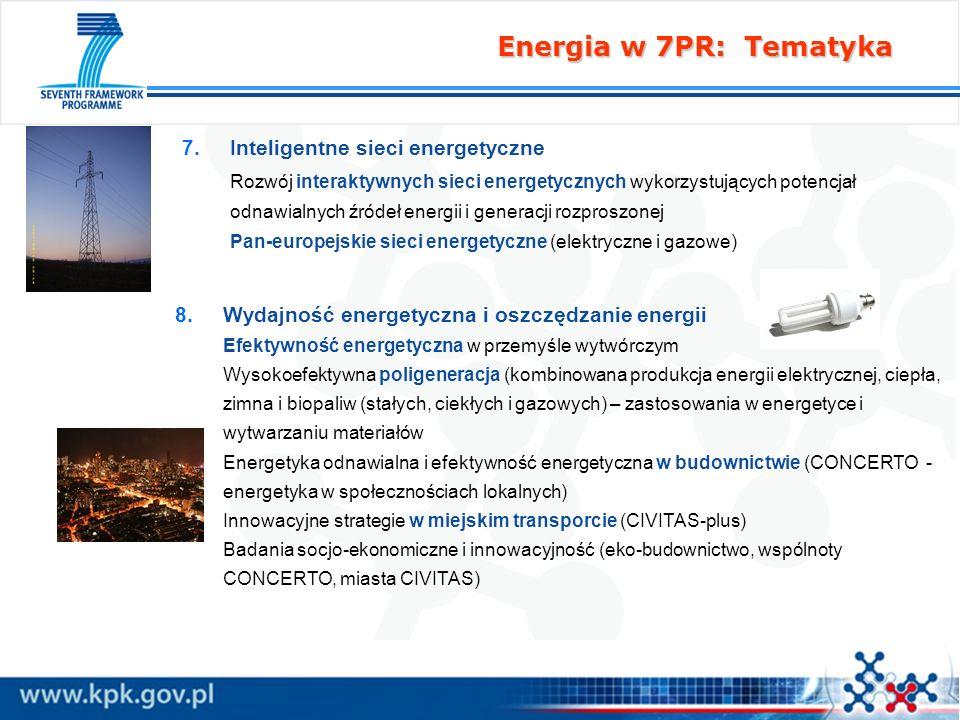 Energia w 7PR: Tematyka 7. 7.Inteligentne sieci energetyczne Rozwój interaktywnych sieci energetycznych wykorzystujących potencjał odnawialnych źródeł