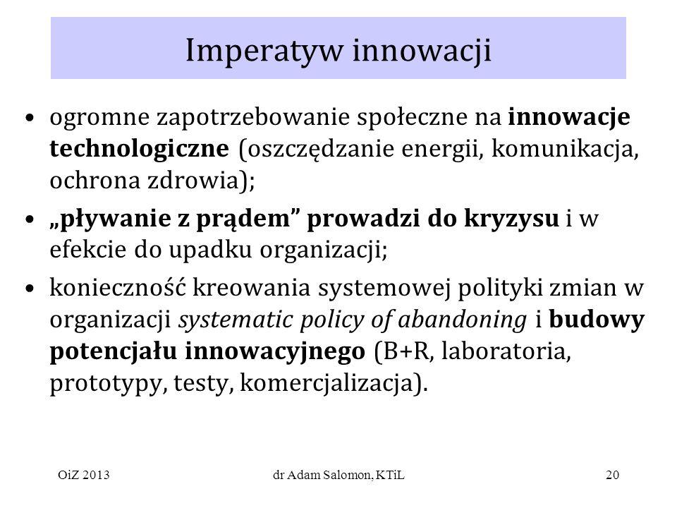 20 Imperatyw innowacji ogromne zapotrzebowanie społeczne na innowacje technologiczne (oszczędzanie energii, komunikacja, ochrona zdrowia); pływanie z prądem prowadzi do kryzysu i w efekcie do upadku organizacji; konieczność kreowania systemowej polityki zmian w organizacji systematic policy of abandoning i budowy potencjału innowacyjnego (B+R, laboratoria, prototypy, testy, komercjalizacja).