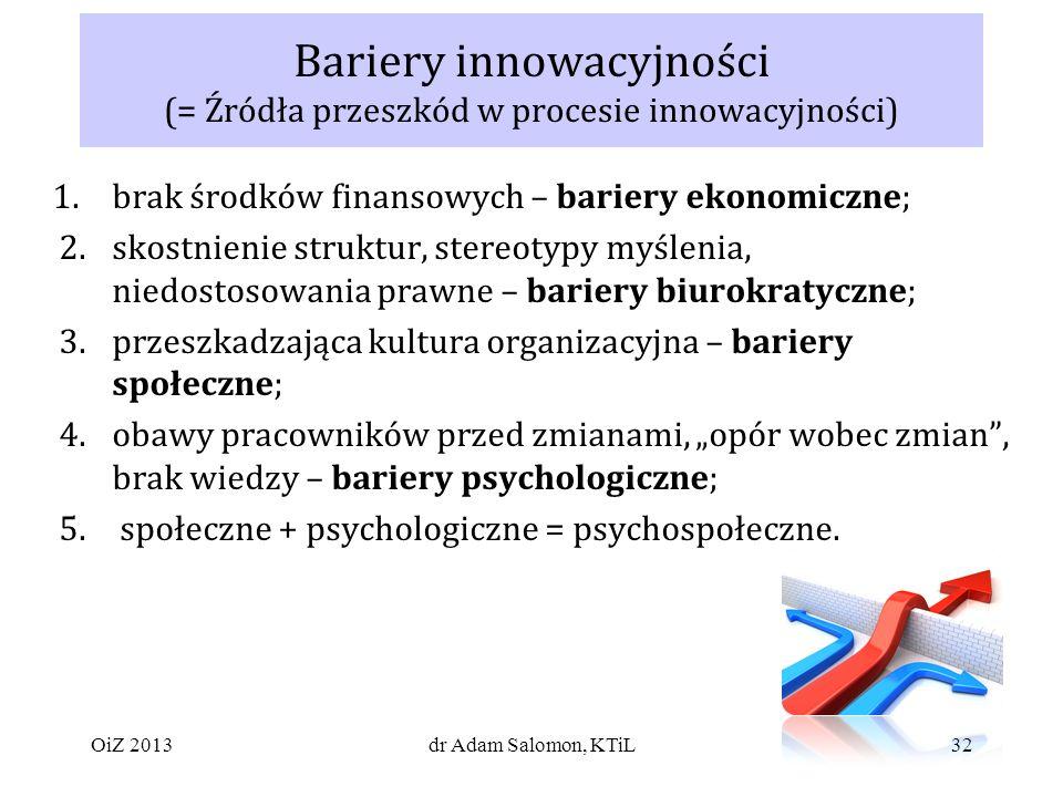 32 Bariery innowacyjności (= Źródła przeszkód w procesie innowacyjności) 1.brak środków finansowych – bariery ekonomiczne; 2.skostnienie struktur, stereotypy myślenia, niedostosowania prawne – bariery biurokratyczne; 3.przeszkadzająca kultura organizacyjna – bariery społeczne; 4.obawy pracowników przed zmianami, opór wobec zmian, brak wiedzy – bariery psychologiczne; 5.
