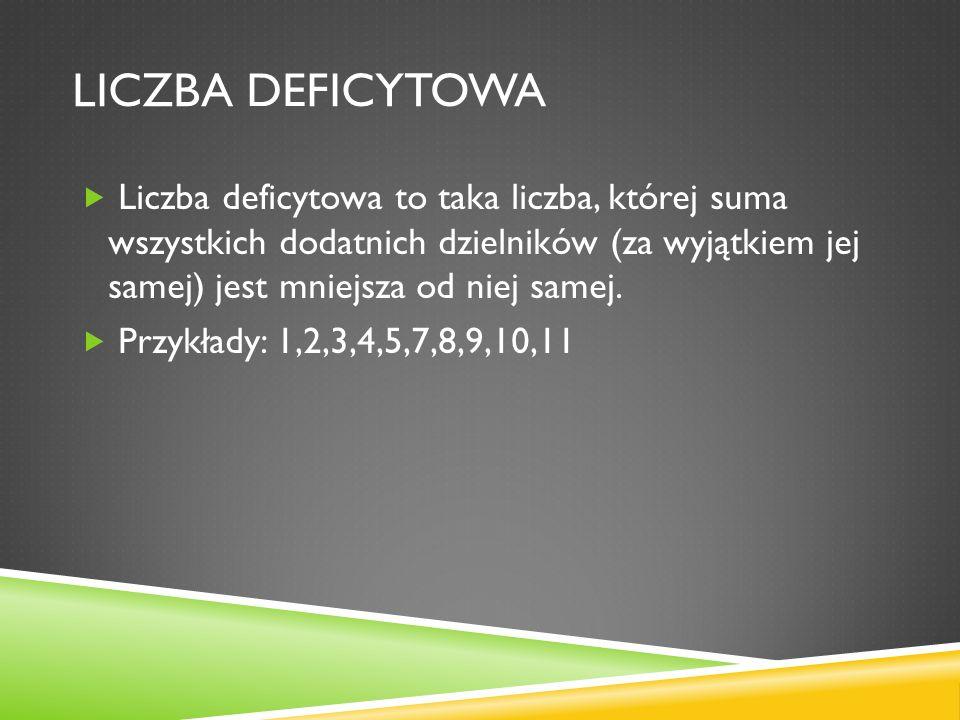 LICZBA DEFICYTOWA Liczba deficytowa to taka liczba, której suma wszystkich dodatnich dzielników (za wyjątkiem jej samej) jest mniejsza od niej samej.