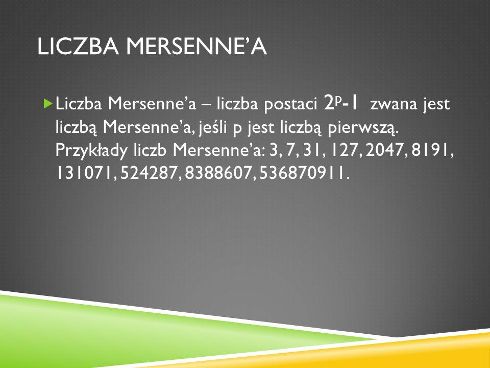 LICZBA MERSENNEA Liczba Mersennea – liczba postaci 2 p -1 zwana jest liczbą Mersennea, jeśli p jest liczbą pierwszą. Przykłady liczb Mersennea: 3, 7,
