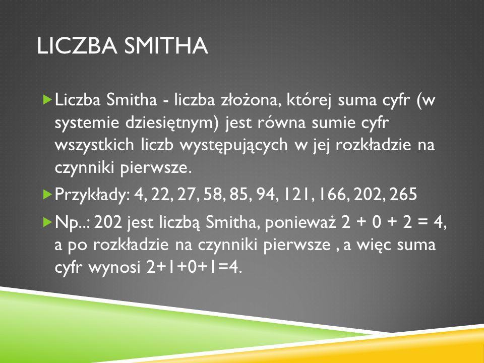 LICZBA SMITHA Liczba Smitha - liczba złożona, której suma cyfr (w systemie dziesiętnym) jest równa sumie cyfr wszystkich liczb występujących w jej roz