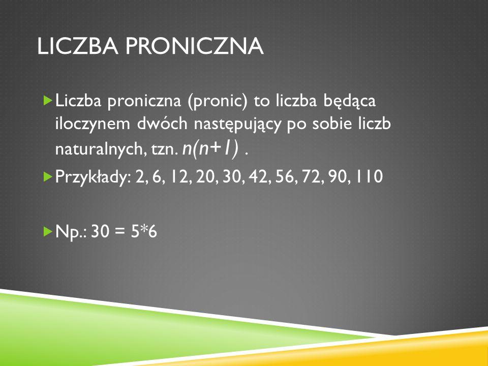 LICZBA PRONICZNA Liczba proniczna (pronic) to liczba będąca iloczynem dwóch następujący po sobie liczb naturalnych, tzn. n(n+1). Przykłady: 2, 6, 12,