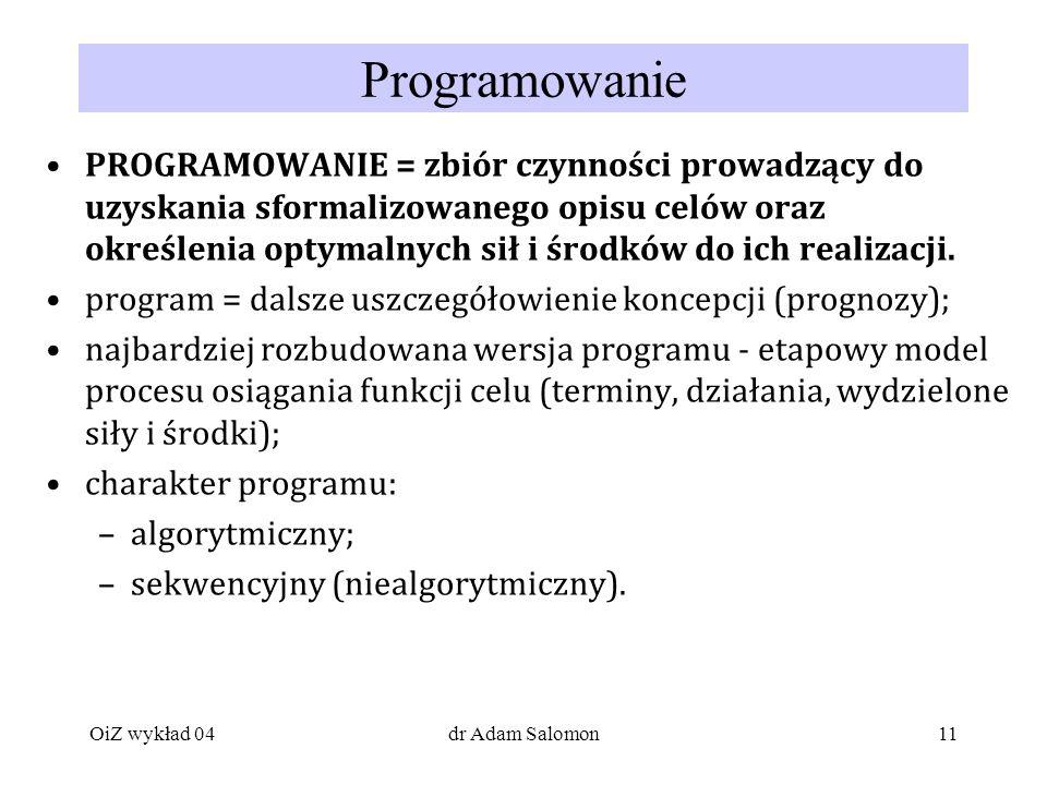 11 Programowanie PROGRAMOWANIE = zbiór czynności prowadzący do uzyskania sformalizowanego opisu celów oraz określenia optymalnych sił i środków do ich realizacji.