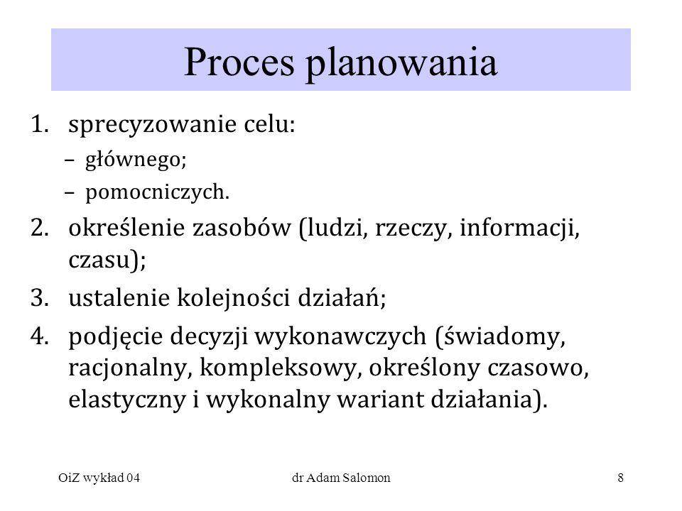 8 Proces planowania 1.sprecyzowanie celu: –głównego; –pomocniczych.