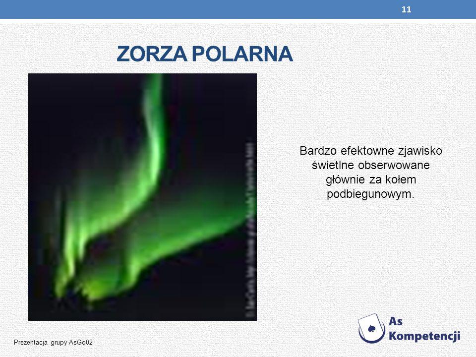 11 ZORZA POLARNA Bardzo efektowne zjawisko świetlne obserwowane głównie za kołem podbiegunowym. Prezentacja grupy AsGo02