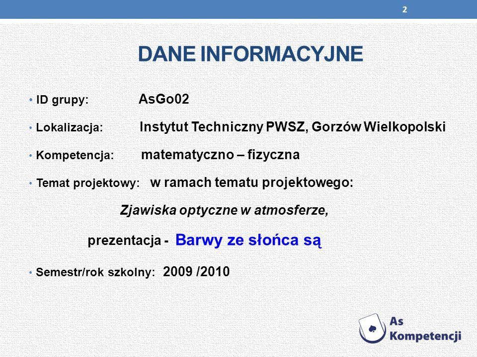 2 DANE INFORMACYJNE ID grupy: AsGo02 Lokalizacja: Instytut Techniczny PWSZ, Gorzów Wielkopolski Kompetencja: matematyczno – fizyczna Temat projektowy: