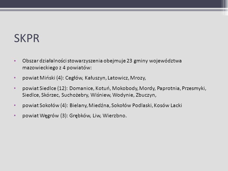 SKPR Obszar działalności stowarzyszenia obejmuje 23 gminy województwa mazowieckiego z 4 powiatów: powiat Miński (4): Cegłów, Kałuszyn, Latowicz, Mrozy
