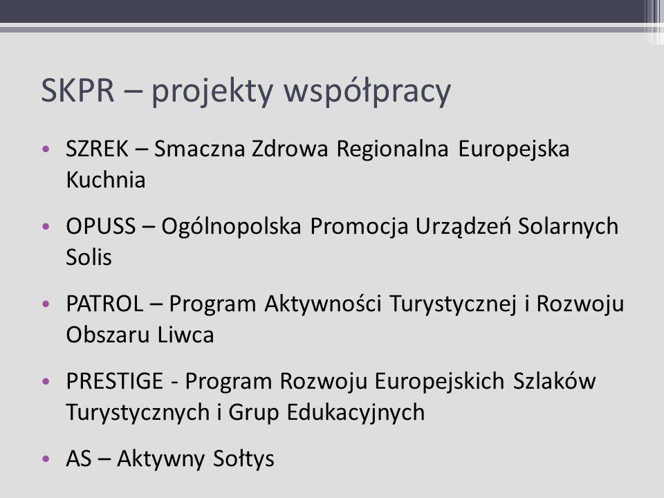 SKPR – projekty współpracy SZREK – Smaczna Zdrowa Regionalna Europejska Kuchnia OPUSS – Ogólnopolska Promocja Urządzeń Solarnych Solis PATROL – Progra