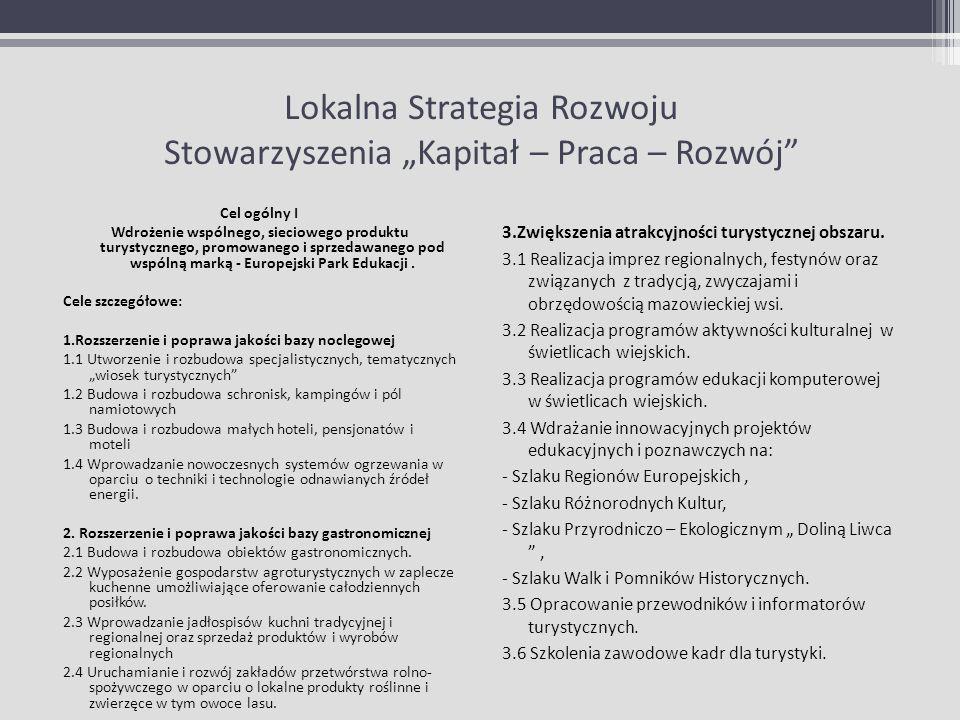 Lokalna Strategia Rozwoju Stowarzyszenia Kapitał – Praca – Rozwój Cel ogólny I Wdrożenie wspólnego, sieciowego produktu turystycznego, promowanego i s