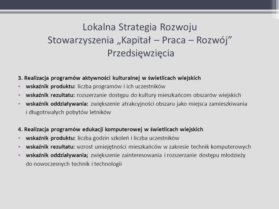 Lokalna Strategia Rozwoju Stowarzyszenia Kapitał – Praca – Rozwój Przedsięwzięcia 3. Realizacja programów aktywności kulturalnej w świetlicach wiejski