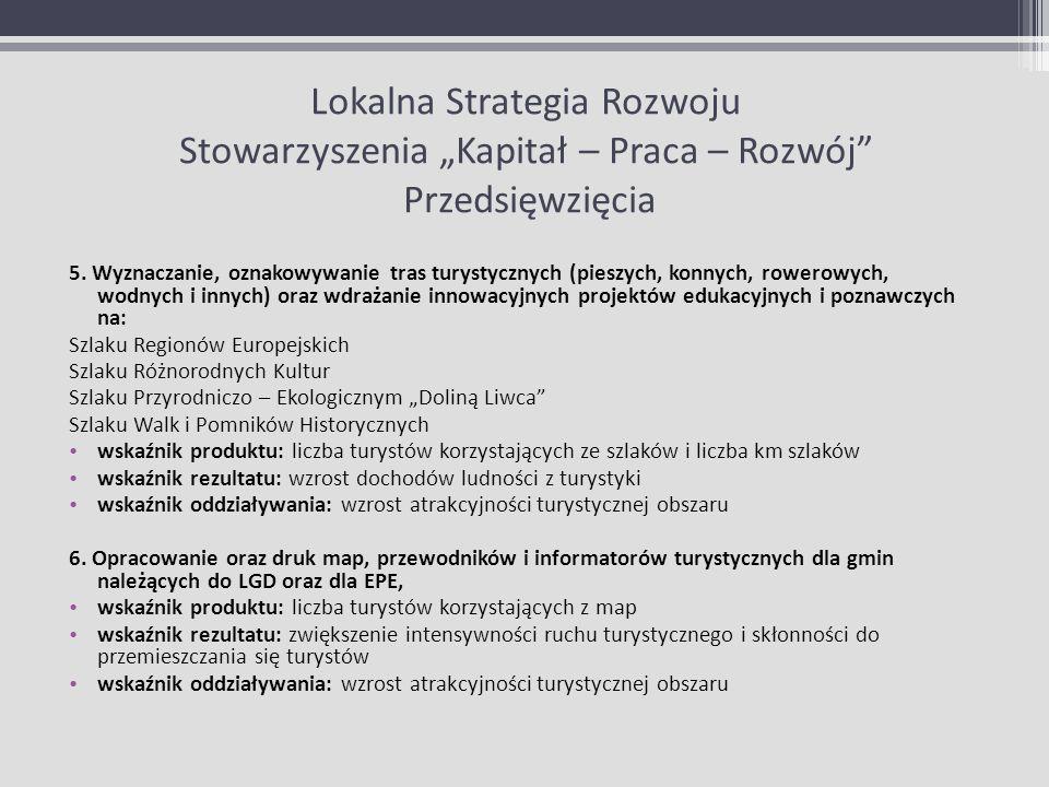 Lokalna Strategia Rozwoju Stowarzyszenia Kapitał – Praca – Rozwój Przedsięwzięcia 5. Wyznaczanie, oznakowywanie tras turystycznych (pieszych, konnych,