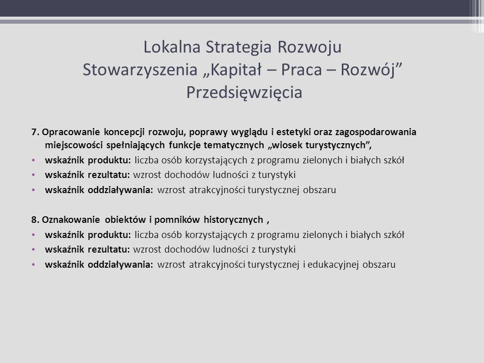 Lokalna Strategia Rozwoju Stowarzyszenia Kapitał – Praca – Rozwój Przedsięwzięcia 7. Opracowanie koncepcji rozwoju, poprawy wyglądu i estetyki oraz za