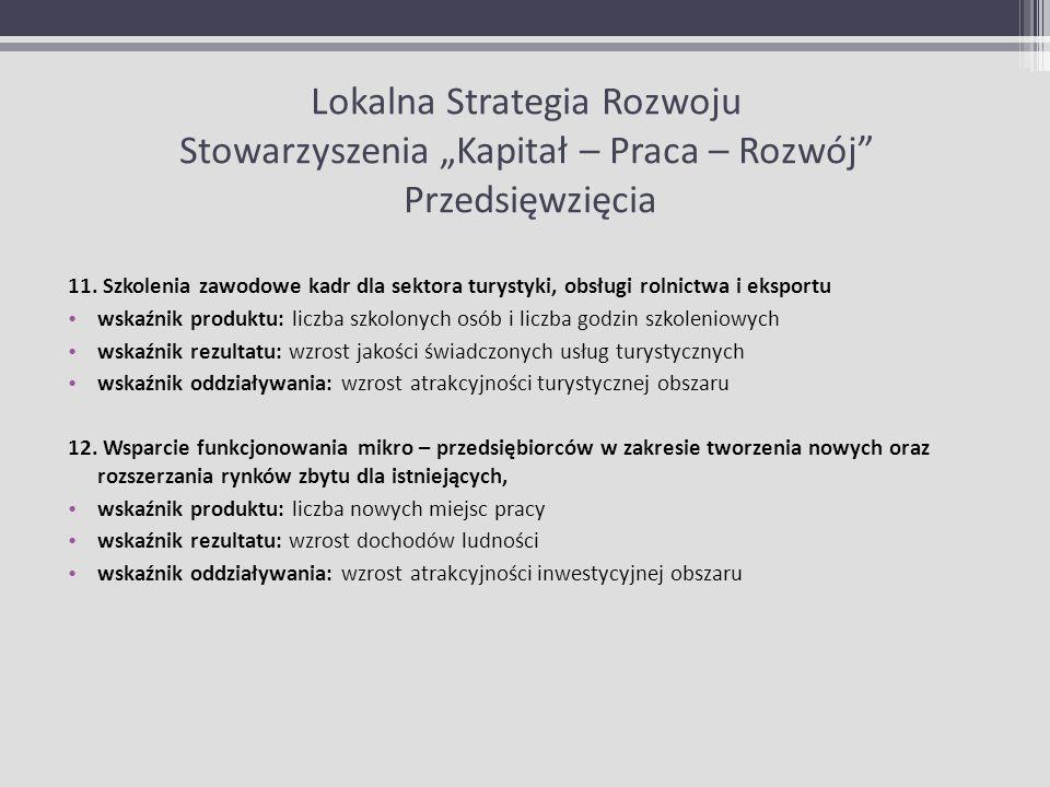 Lokalna Strategia Rozwoju Stowarzyszenia Kapitał – Praca – Rozwój Przedsięwzięcia 11. Szkolenia zawodowe kadr dla sektora turystyki, obsługi rolnictwa