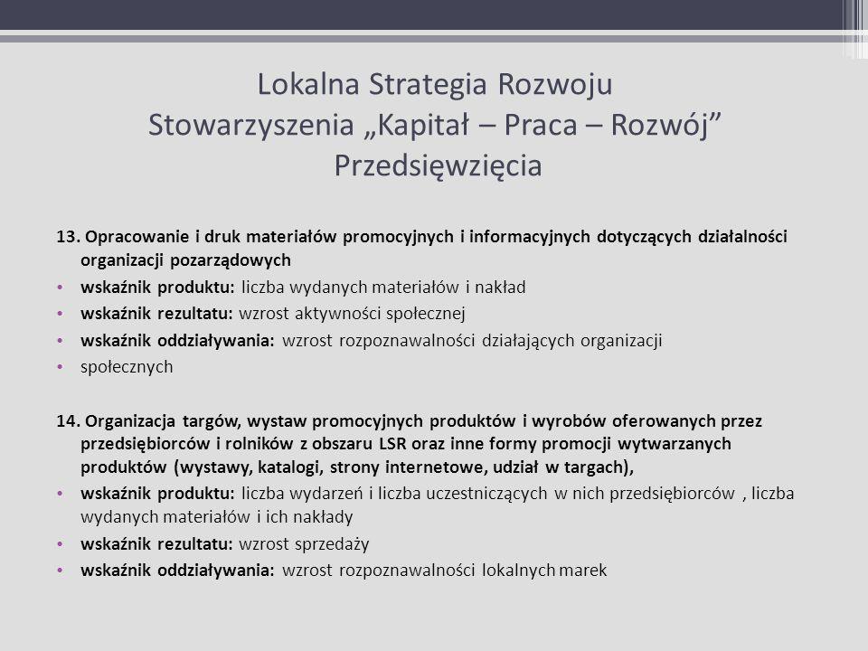 Lokalna Strategia Rozwoju Stowarzyszenia Kapitał – Praca – Rozwój Przedsięwzięcia 13. Opracowanie i druk materiałów promocyjnych i informacyjnych doty