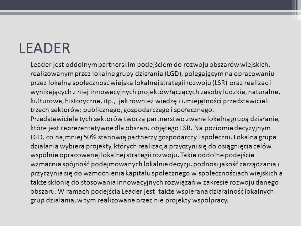 LEADER Leader jest oddolnym partnerskim podejściem do rozwoju obszarów wiejskich, realizowanym przez lokalne grupy działania (LGD), polegającym na opr