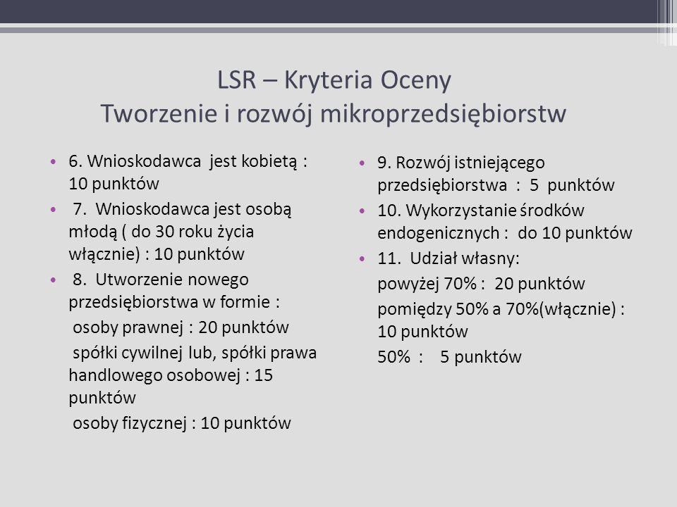 LSR – Kryteria Oceny Tworzenie i rozwój mikroprzedsiębiorstw 6. Wnioskodawca jest kobietą : 10 punktów 7. Wnioskodawca jest osobą młodą ( do 30 roku ż
