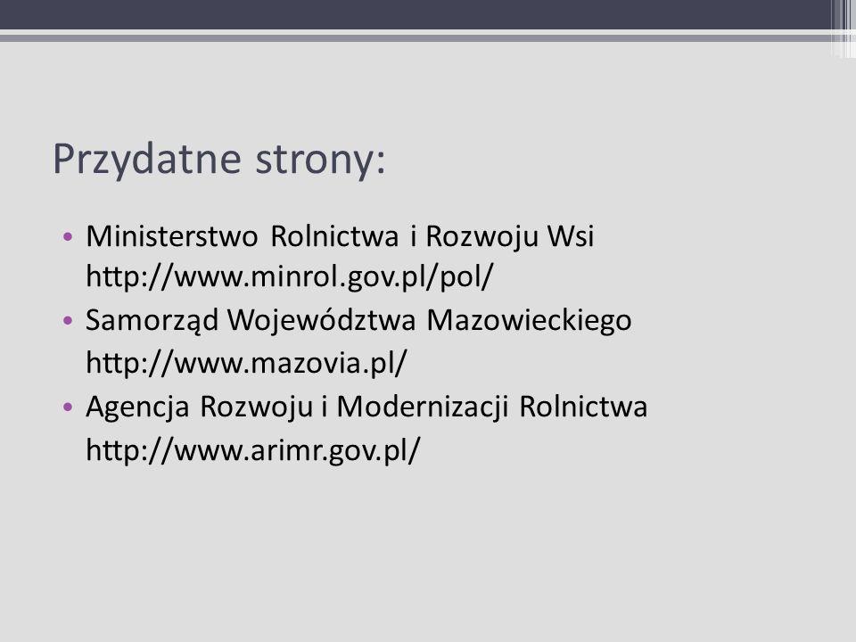 Przydatne strony: Ministerstwo Rolnictwa i Rozwoju Wsi http://www.minrol.gov.pl/pol/ Samorząd Województwa Mazowieckiego http://www.mazovia.pl/ Agencja