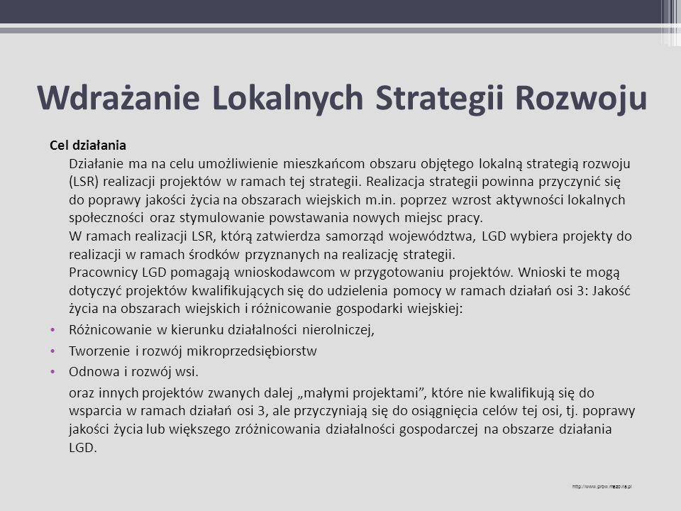 Wdrażanie Lokalnych Strategii Rozwoju Cel działania Działanie ma na celu umożliwienie mieszkańcom obszaru objętego lokalną strategią rozwoju (LSR) rea