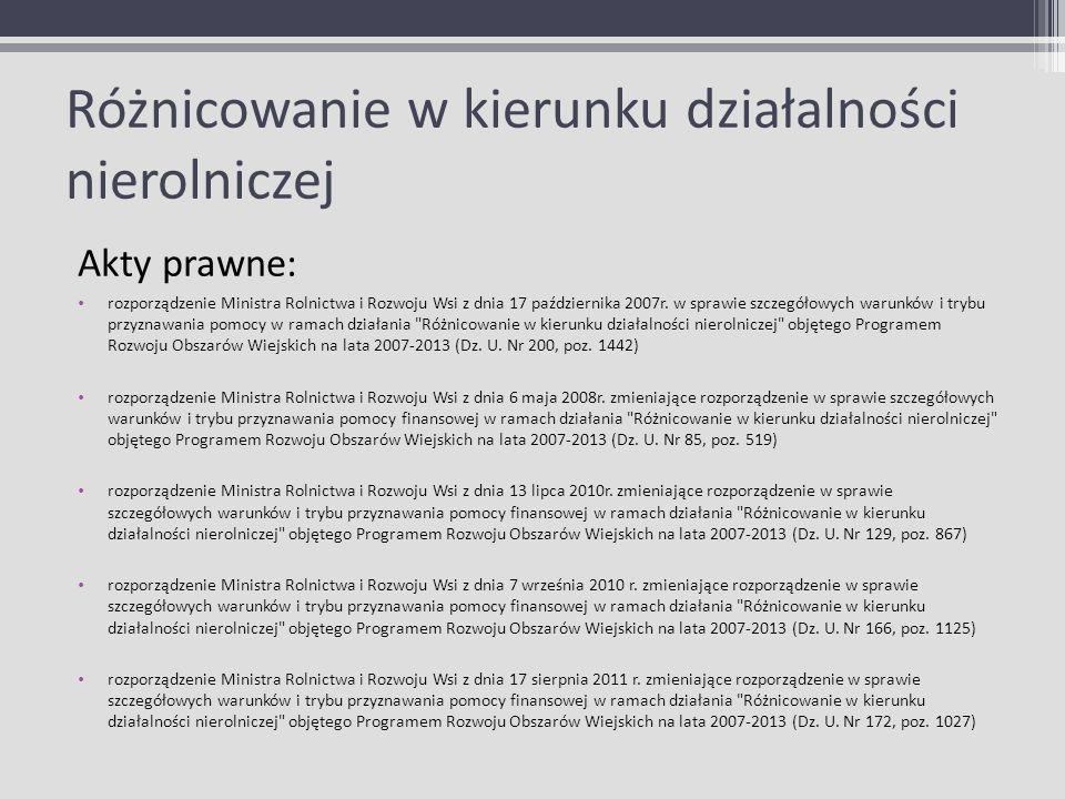 Różnicowanie w kierunku działalności nierolniczej Akty prawne: rozporządzenie Ministra Rolnictwa i Rozwoju Wsi z dnia 17 października 2007r. w sprawie