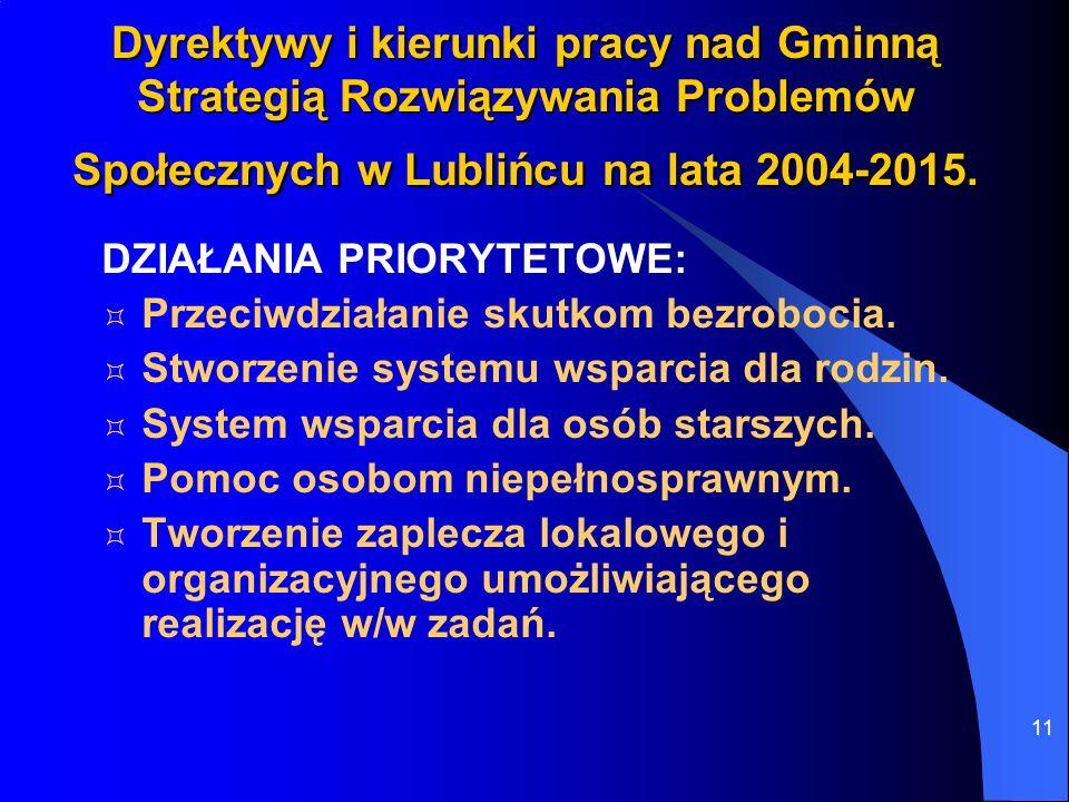 11 Dyrektywy i kierunki pracy nad Gminną Strategią Rozwiązywania Problemów Społecznych w Lublińcu na lata 2004-2015. DZIAŁANIA PRIORYTETOWE: Przeciwdz