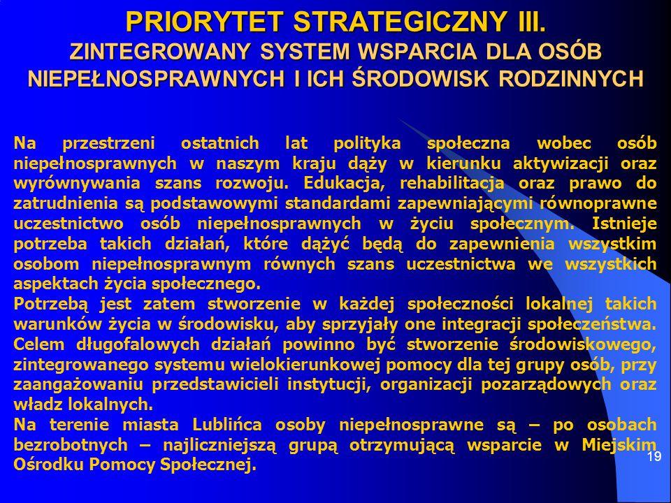 19 PRIORYTET STRATEGICZNY III. ZINTEGROWANY SYSTEM WSPARCIA DLA OSÓB NIEPEŁNOSPRAWNYCH I ICH ŚRODOWISK RODZINNYCH Na przestrzeni ostatnich lat polityk