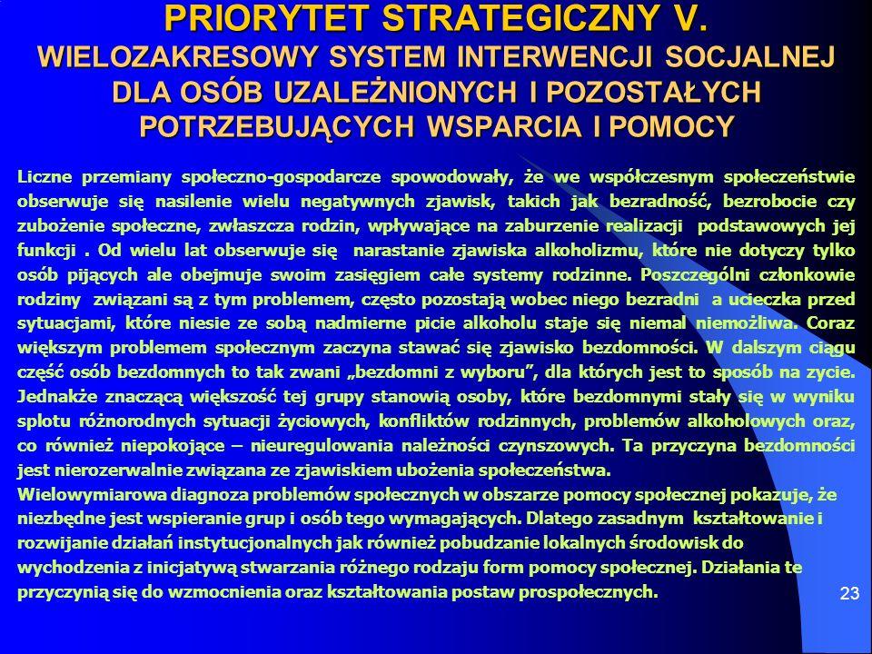 23 PRIORYTET STRATEGICZNY V. WIELOZAKRESOWY SYSTEM INTERWENCJI SOCJALNEJ DLA OSÓB UZALEŻNIONYCH I POZOSTAŁYCH POTRZEBUJĄCYCH WSPARCIA I POMOCY Liczne