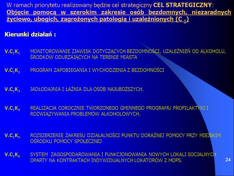 24 W ramach priorytetu realizowany będzie cel strategiczny CEL STRATEGICZNY: Objęcie pomocą w szerokim zakresie osób bezdomnych, niezaradnych życiowo,