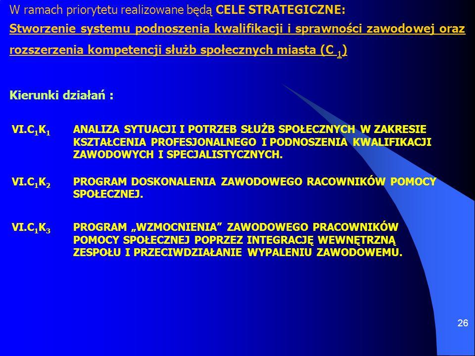 26 W ramach priorytetu realizowane będą CELE STRATEGICZNE: Stworzenie systemu podnoszenia kwalifikacji i sprawności zawodowej oraz rozszerzenia kompet