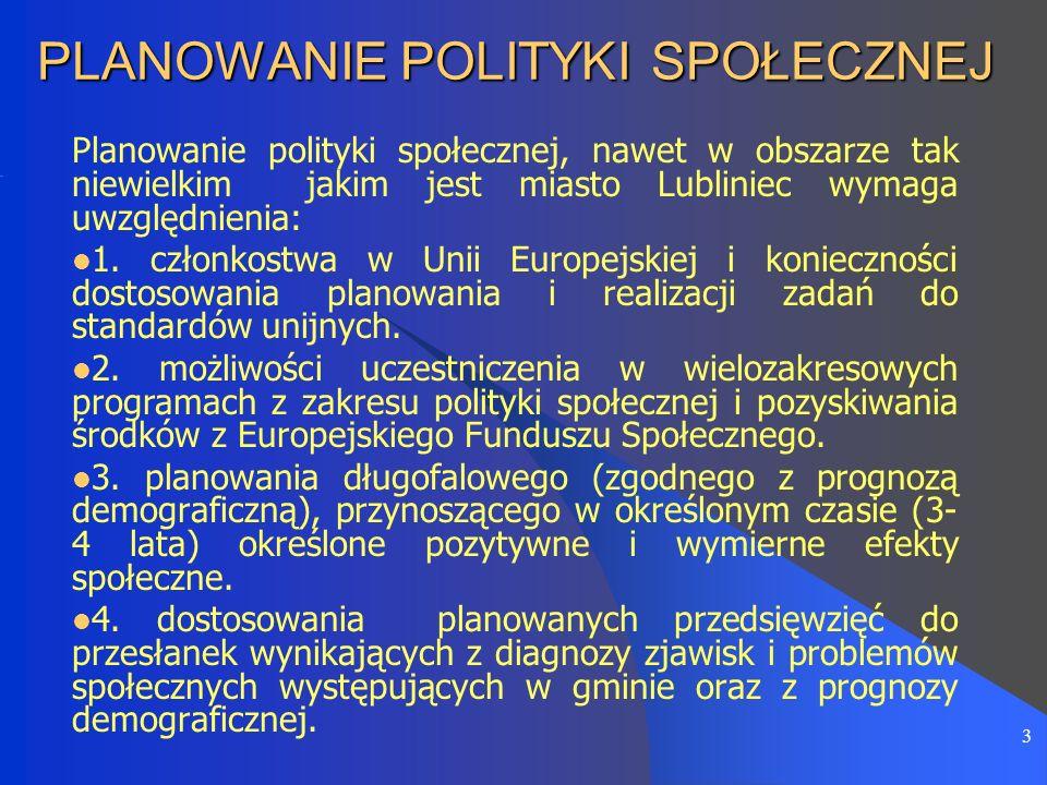 3 PLANOWANIE POLITYKI SPOŁECZNEJ Planowanie polityki społecznej, nawet w obszarze tak niewielkim jakim jest miasto Lubliniec wymaga uwzględnienia: 1.