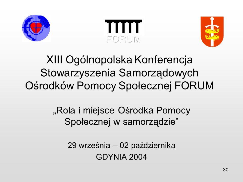 30 XIII Ogólnopolska Konferencja Stowarzyszenia Samorządowych Ośrodków Pomocy Społecznej FORUM Rola i miejsce Ośrodka Pomocy Społecznej w samorządzie