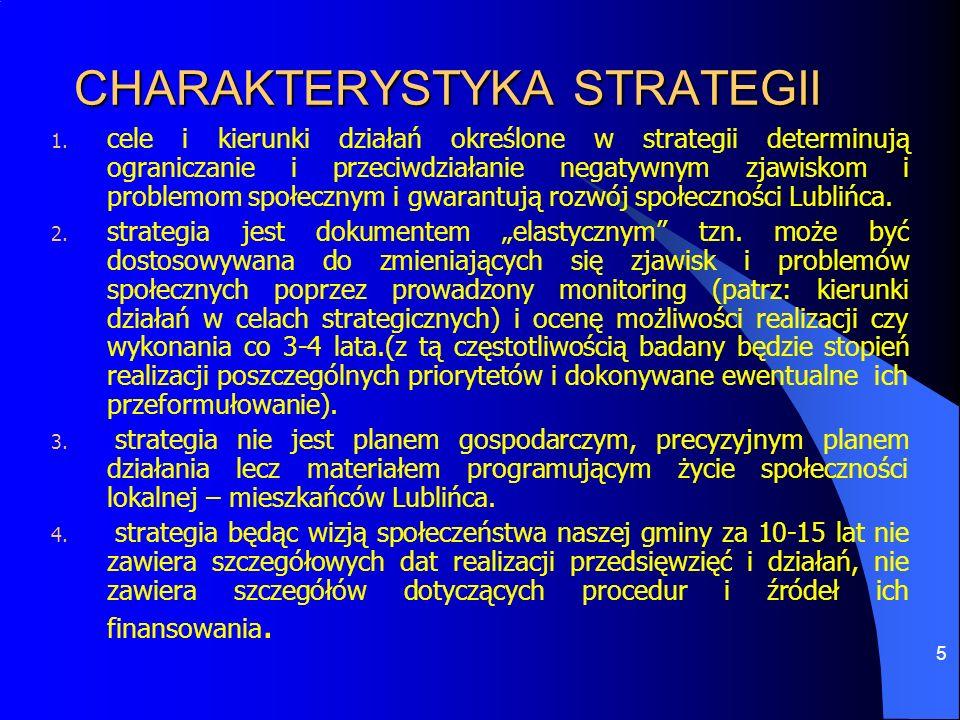 5 CHARAKTERYSTYKA STRATEGII 1. cele i kierunki działań określone w strategii determinują ograniczanie i przeciwdziałanie negatywnym zjawiskom i proble
