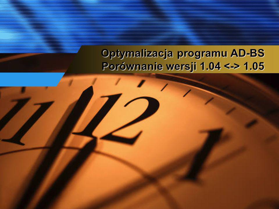 Optymalizacja programu AD-BS Porównanie wersji 1.04 1.05